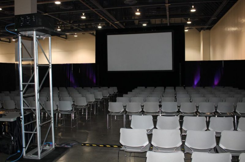 A/V movie set up for a film screening
