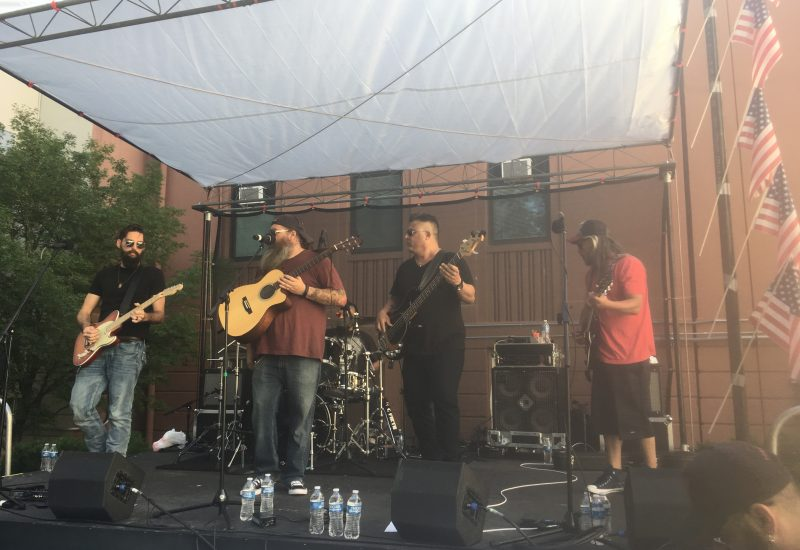 The band 3 Beards plays at the Reno VA Hospital Spartan Pledge event with Staging,  PA and Backline by Tech Works.