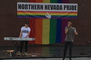 Rayvon Owen performs at the Northern Nevada Pride Fest with Tech Works Backline