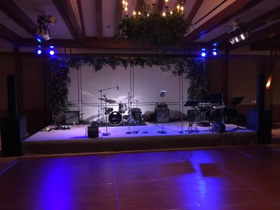 Sound and Backline Instrument Rental for a band who flew from Arizona to play a wedding at the Ritz Carlton Lake Tahoe. Tech Works also supplied a sound system and backline for the rehearsal dinner, sound system and backline for the outdoor ceremony and sound system in the lobby for cocktails.