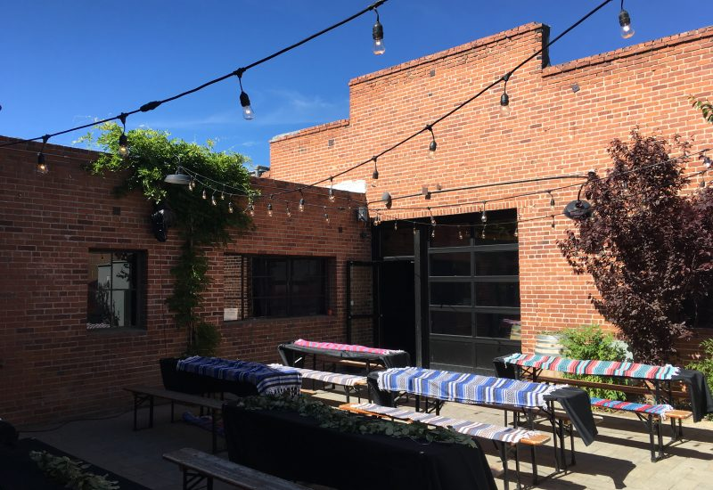 String Lights over the back patio at The Saint in Reno for a wedding.