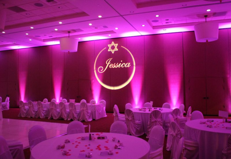Uplighting and Gobo for a Bat Mitzvah reception