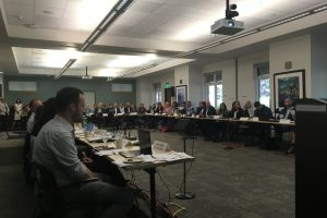 A meeting of the climate alliance at Sierra Nevada College. Tech Works provided a Mix-Minus sound system with distributed zone speakers, wireless microphones and webcasting audio so folks could attend the meeting remotely.