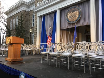 Staging for the NV Governor's Inauguration 2019. A little snow or rain is not a problem as our outdoor decks feature a non-skid surface.