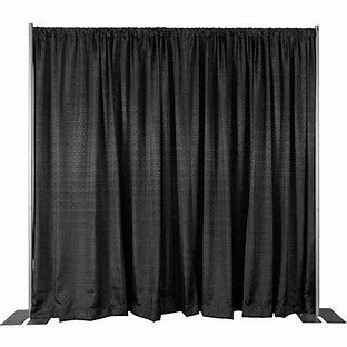 "Tech Works stocks 3', 8' and 12' ""Banjo Cloth"" drape as well as 18' Velour drapery"