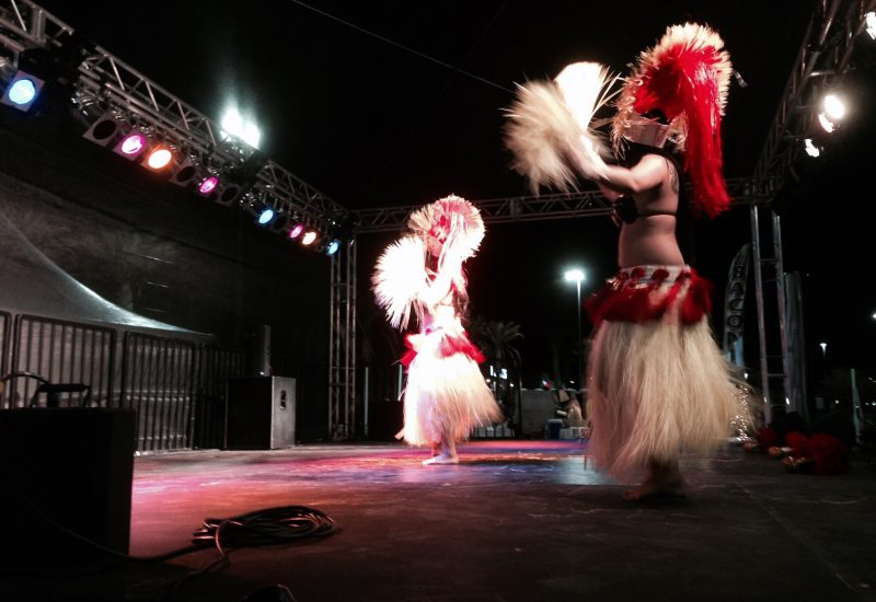 Dancers on a Tech Works 32'x20' roofed stage. Tech Works also supplied the lighting and audio.